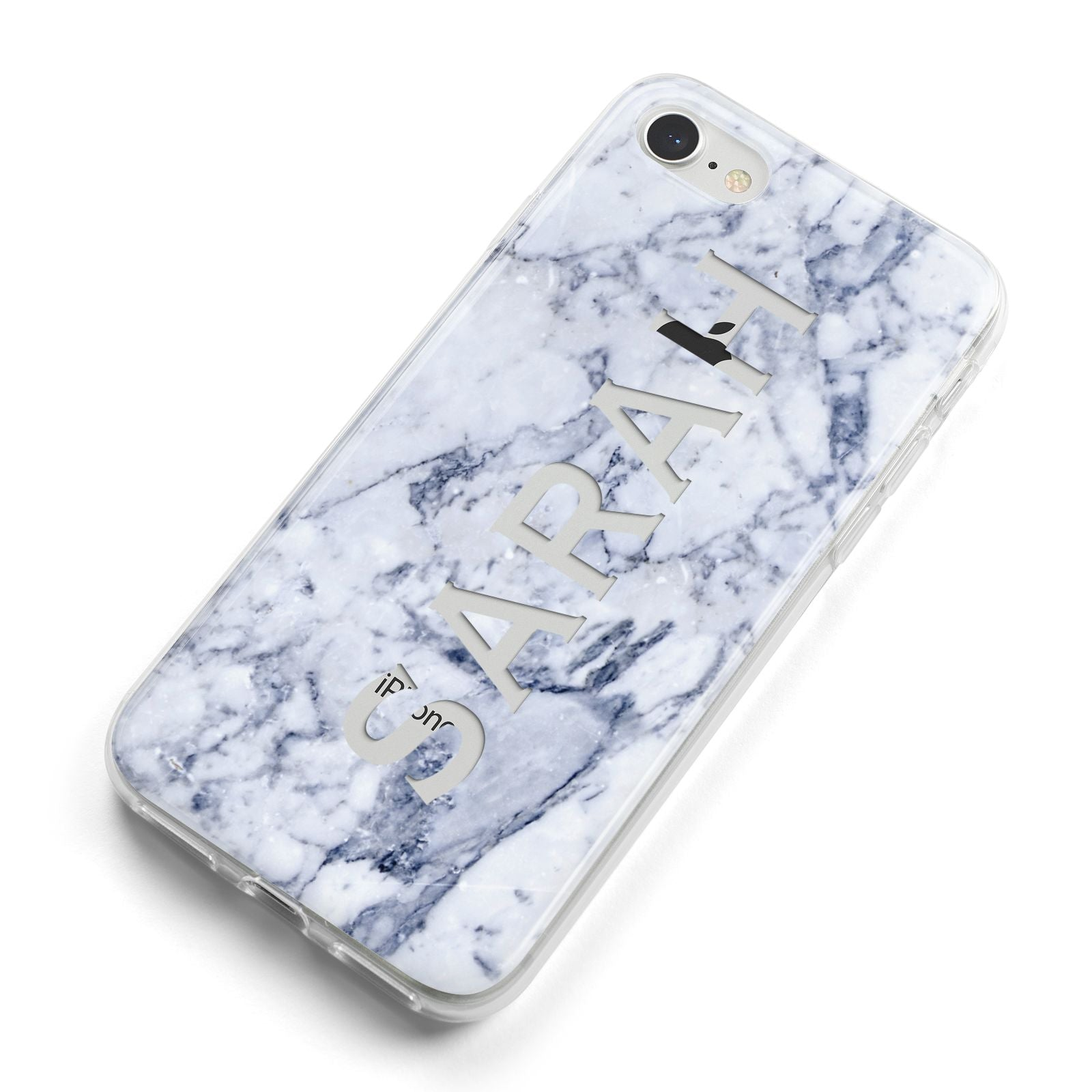 Personalised Clear Name Cutout Blue Marble Custom iPhone 8 Bumper Case on Silver iPhone Alternative Image