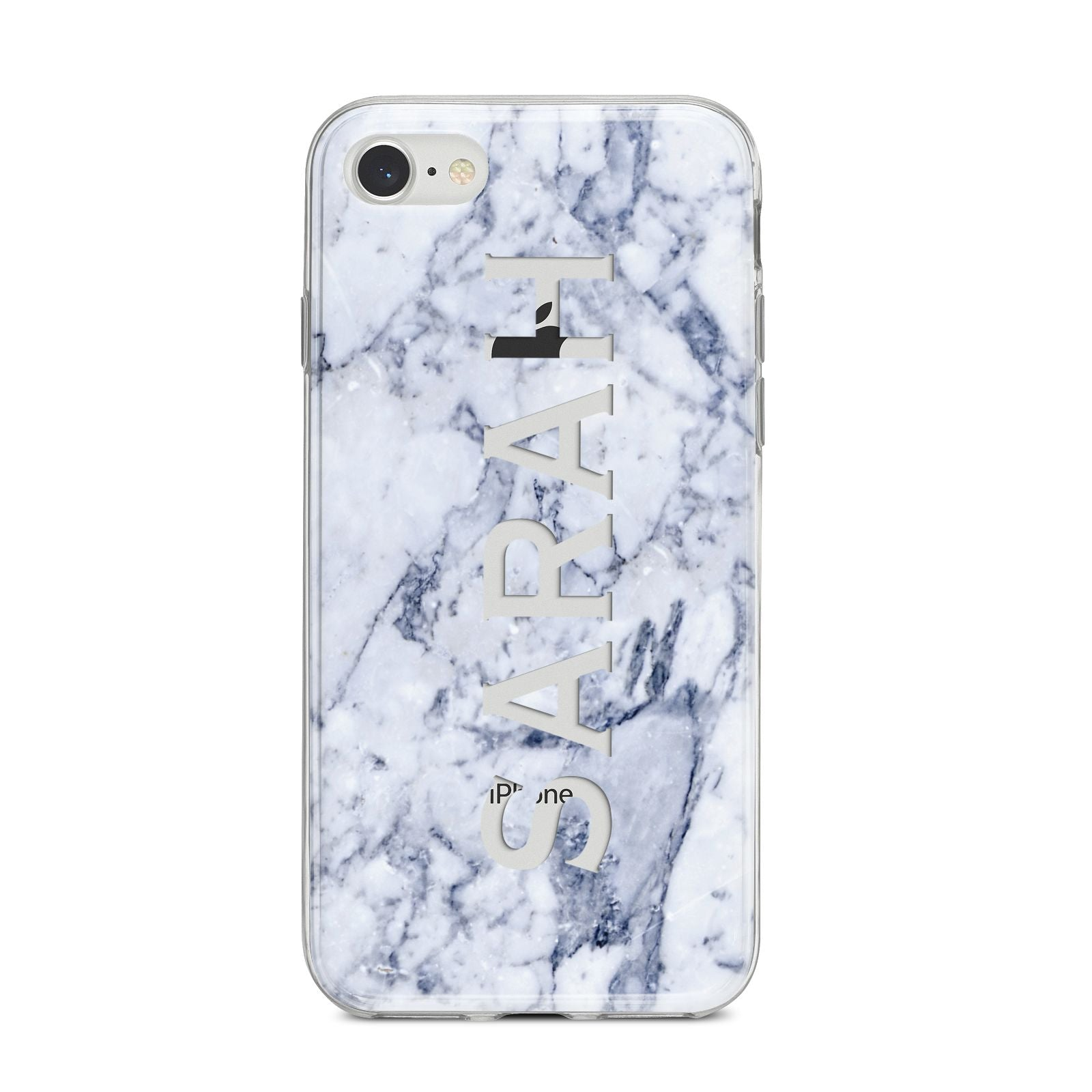 Personalised Clear Name Cutout Blue Marble Custom iPhone 8 Bumper Case on Silver iPhone