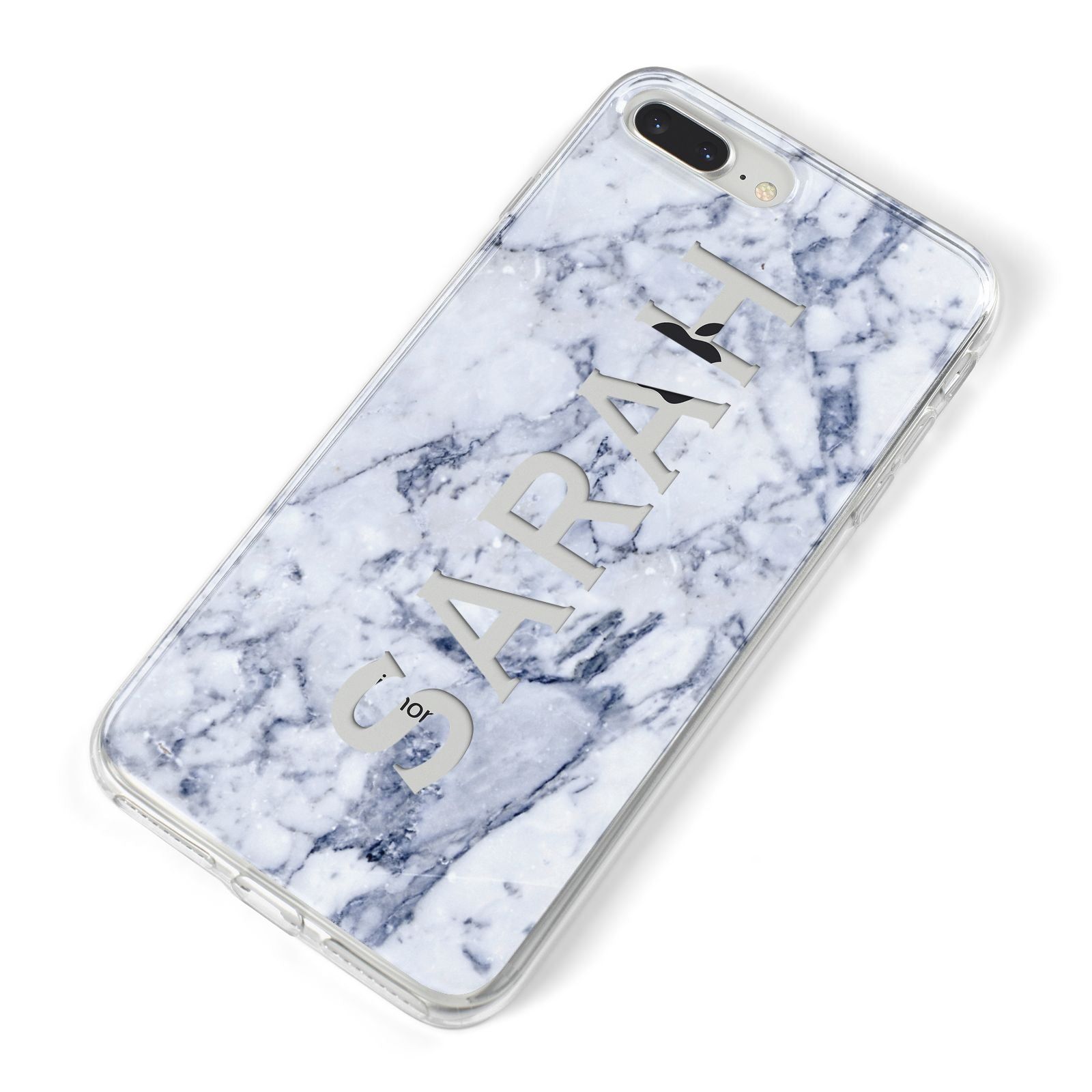 Personalised Clear Name Cutout Blue Marble Custom iPhone 8 Plus Bumper Case on Silver iPhone Alternative Image
