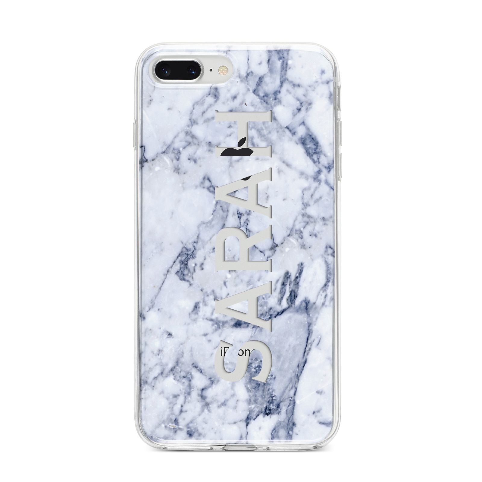 Personalised Clear Name Cutout Blue Marble Custom iPhone 8 Plus Bumper Case on Silver iPhone