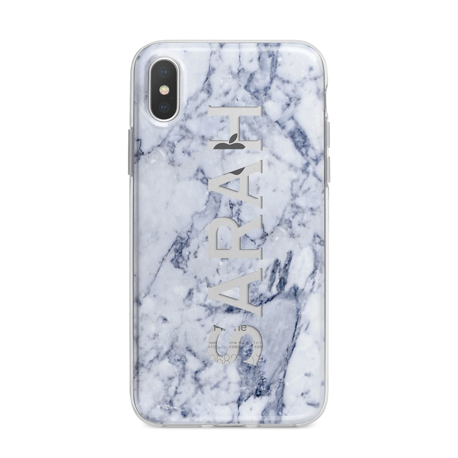 Personalised Clear Name Cutout Blue Marble Custom iPhone X Bumper Case on Silver iPhone Alternative Image 1