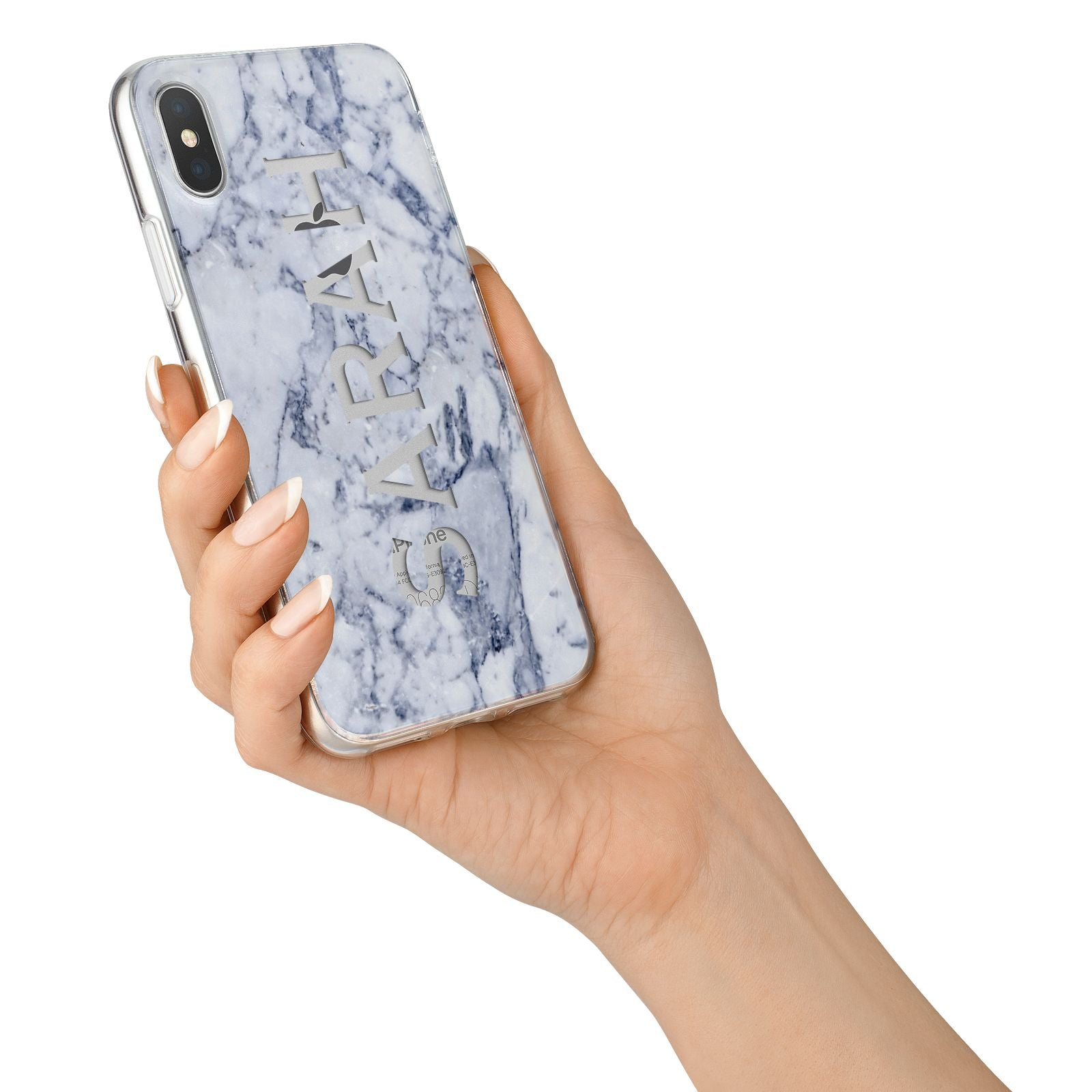 Personalised Clear Name Cutout Blue Marble Custom iPhone X Bumper Case on Silver iPhone Alternative Image 2