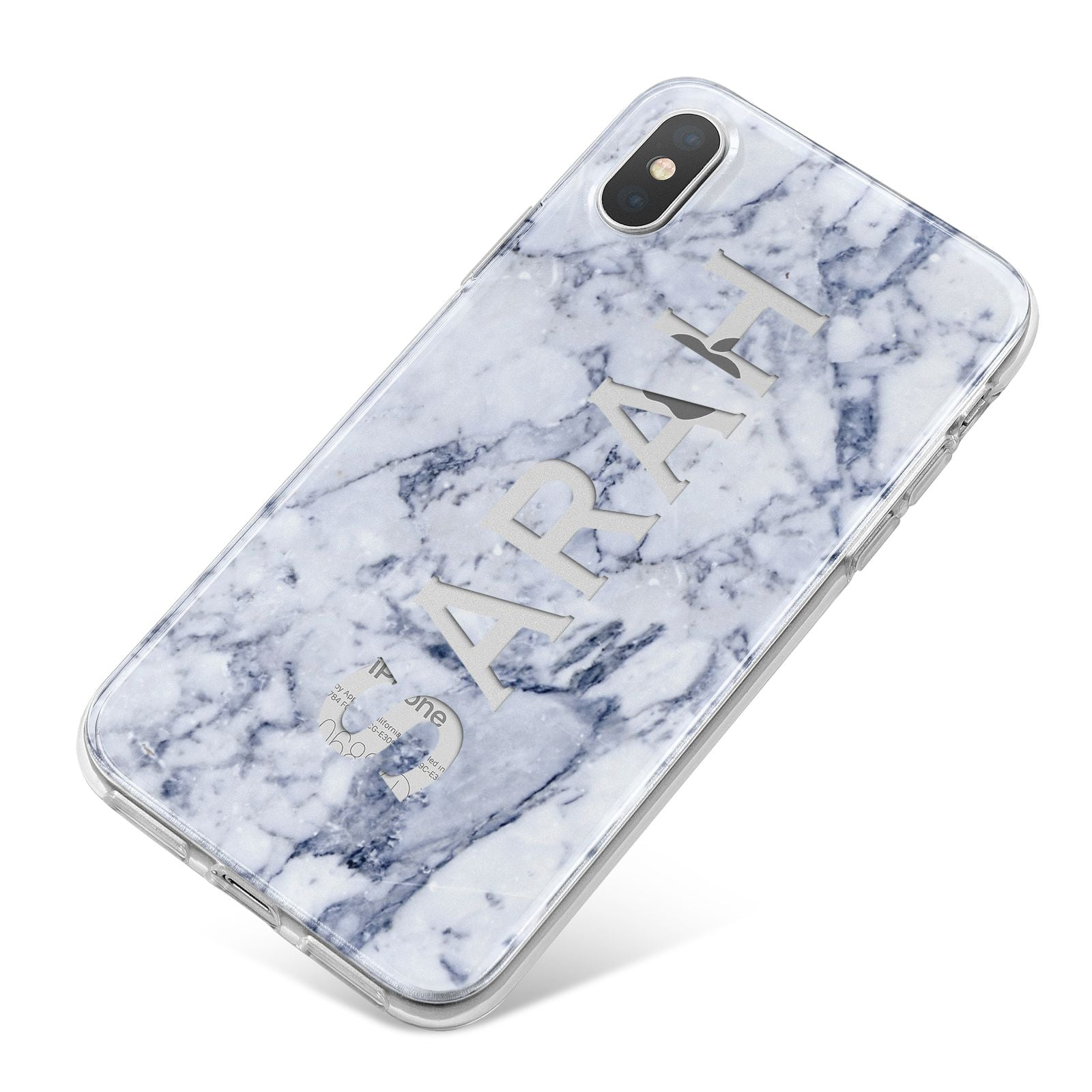 Personalised Clear Name Cutout Blue Marble Custom iPhone X Bumper Case on Silver iPhone