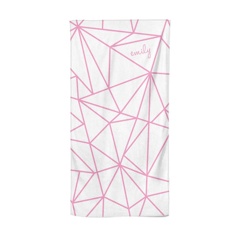 Personalised Clear Outlines & Name Pink Beach Towel
