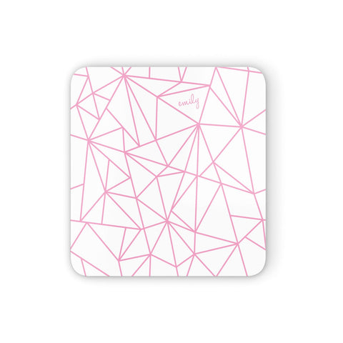 Personalised Clear Outlines & Name Pink Coasters set of 4