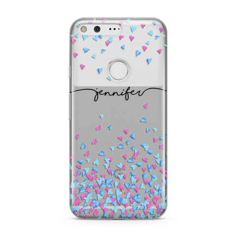 Personalised Confetti Hearts Google Case