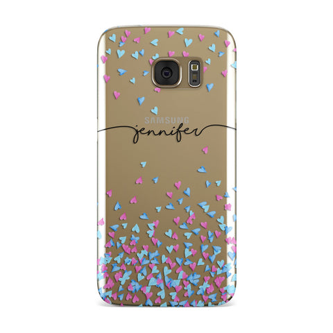 Personalised Confetti Hearts Samsung Galaxy Case