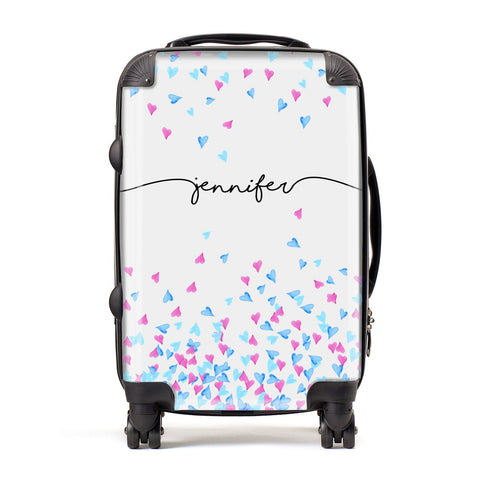 Personalised Confetti Hearts Suitcase