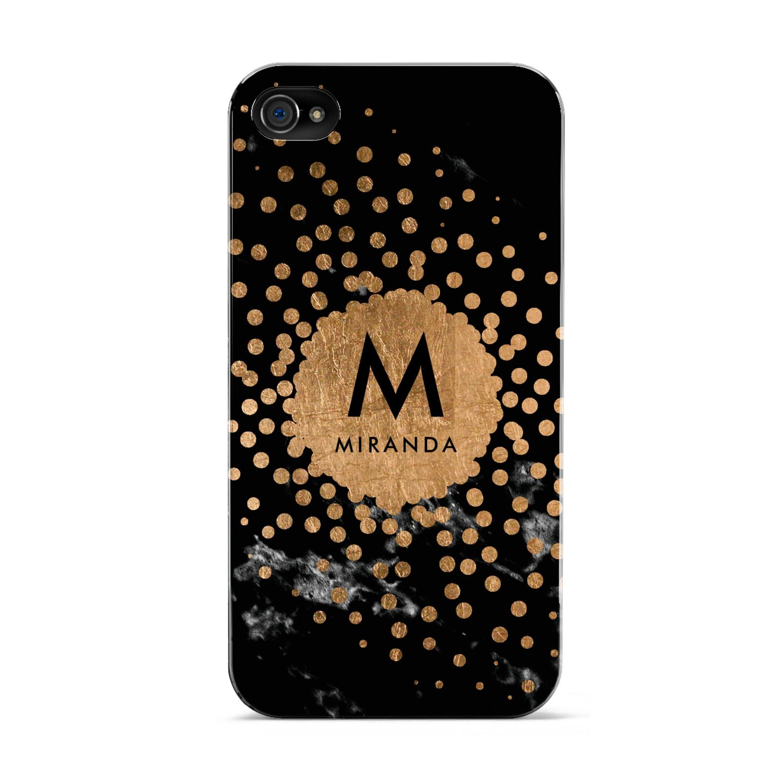 Personalised Copper Black Marble With Name Apple iPhone 4s Case