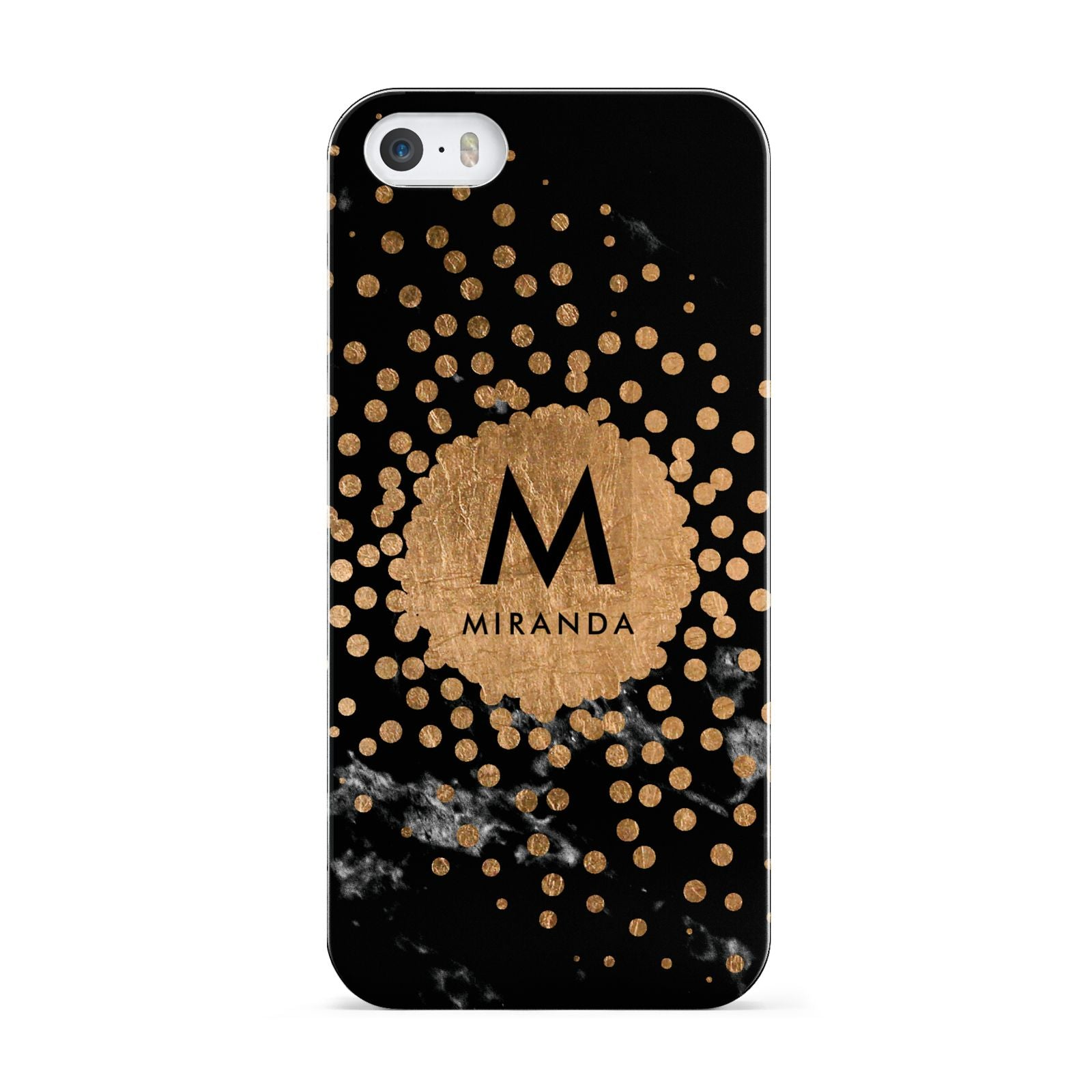 Personalised Copper Black Marble With Name Apple iPhone 5 Case