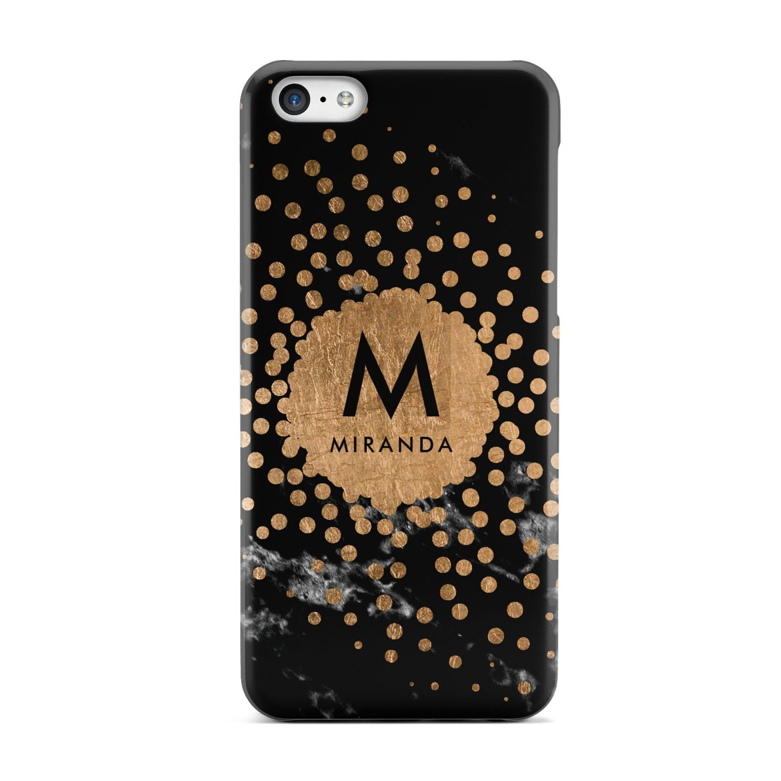 Personalised Copper Black Marble With Name Apple iPhone 5c Case