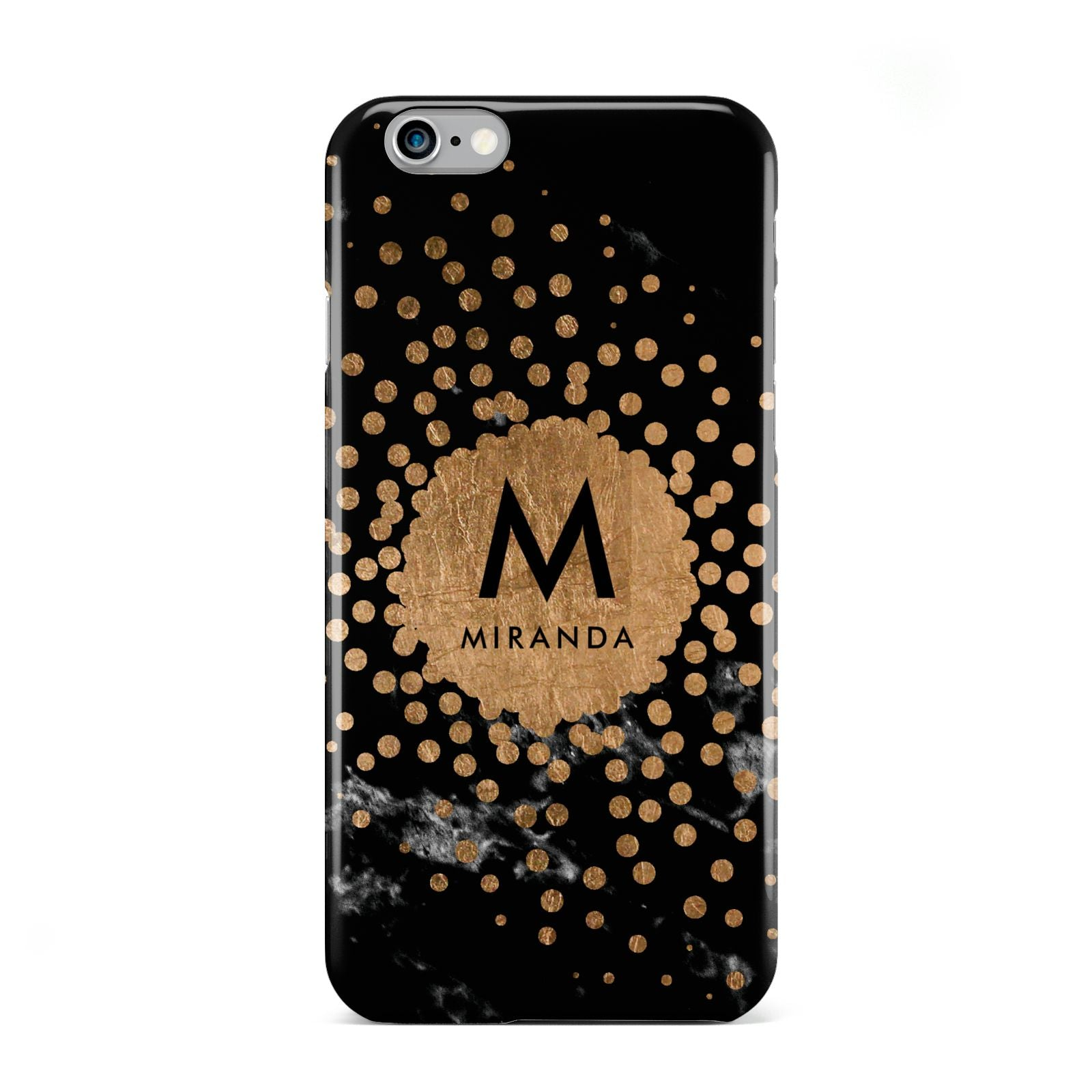 Personalised Copper Black Marble With Name Apple iPhone 6 Case