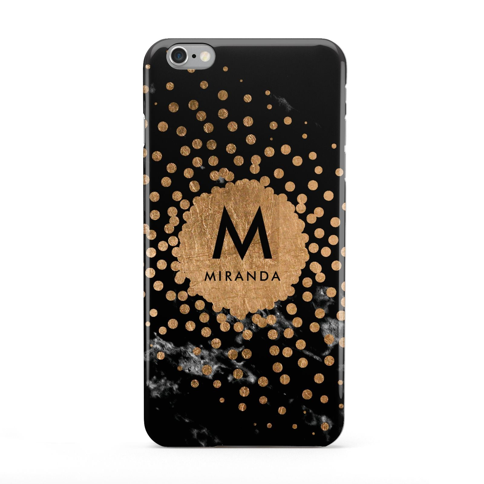 Personalised Copper Black Marble With Name Apple iPhone 6 Plus Case
