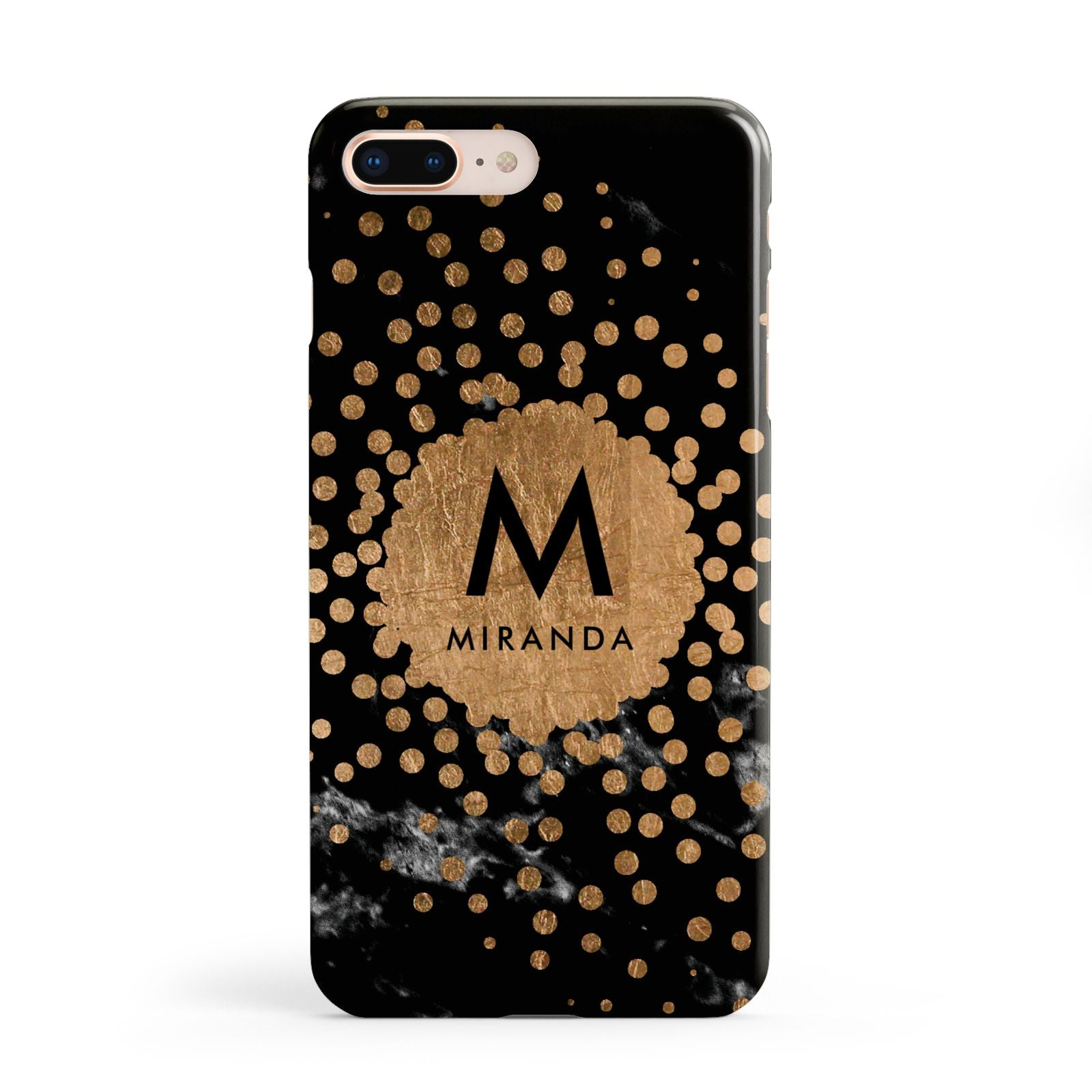 Personalised Copper Black Marble With Name Apple iPhone 8 Plus Case