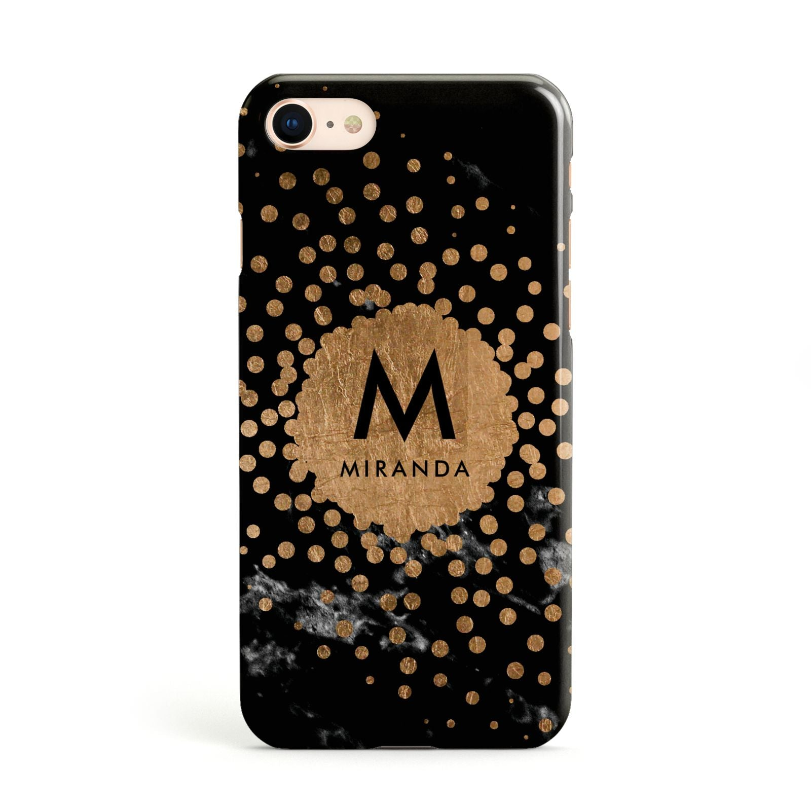Personalised Copper Black Marble With Name Apple iPhone Case