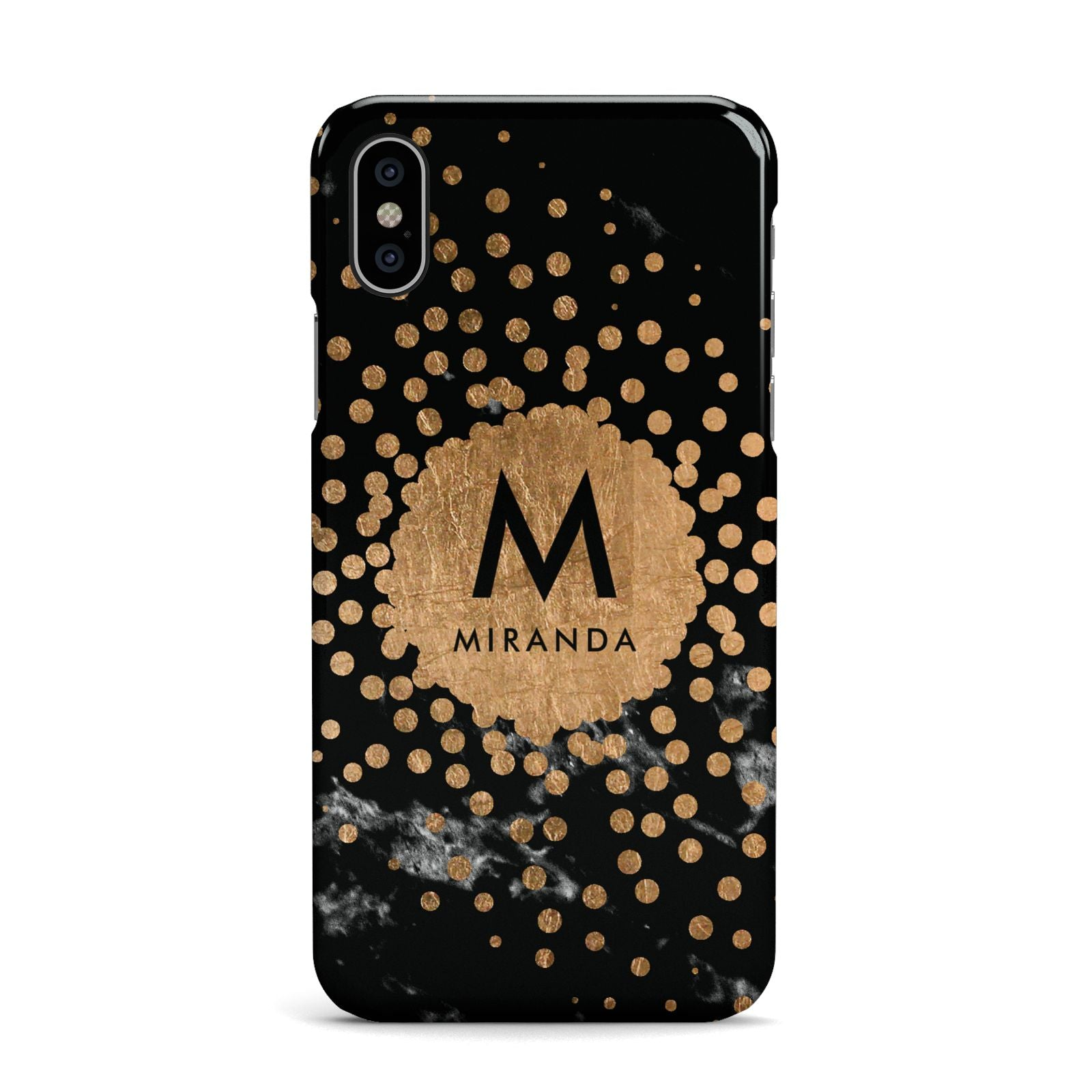 Personalised Copper Black Marble With Name Apple iPhone X Case