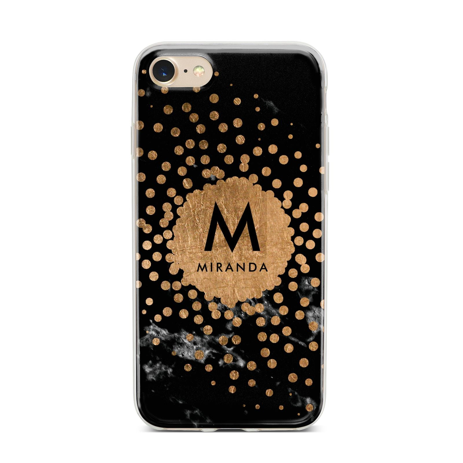 Personalised Copper Black Marble With Name iPhone 7 Bumper Case on Gold iPhone