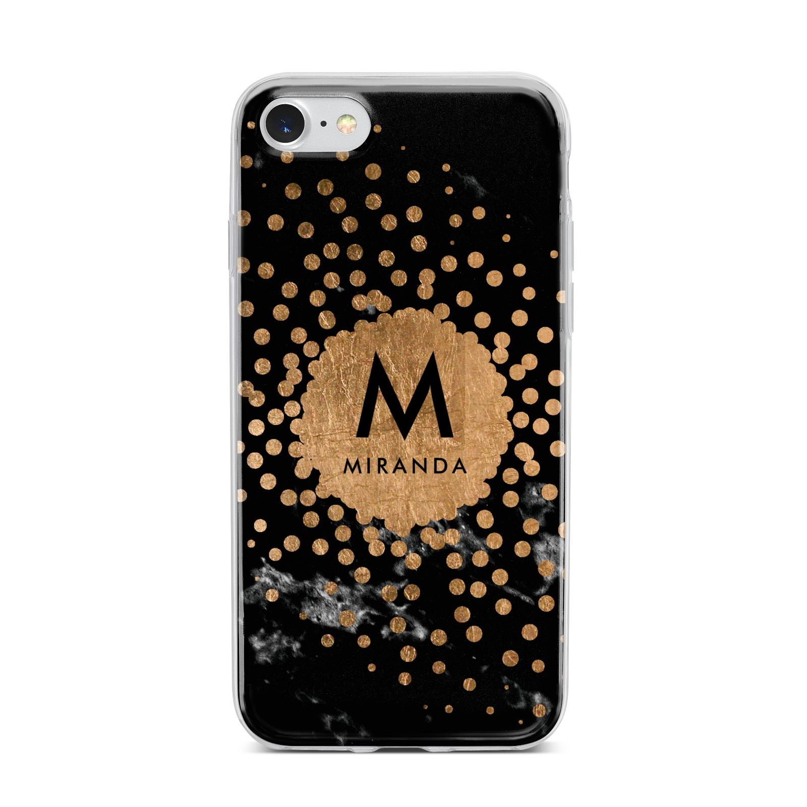 Personalised Copper Black Marble With Name iPhone 7 Bumper Case on Silver iPhone
