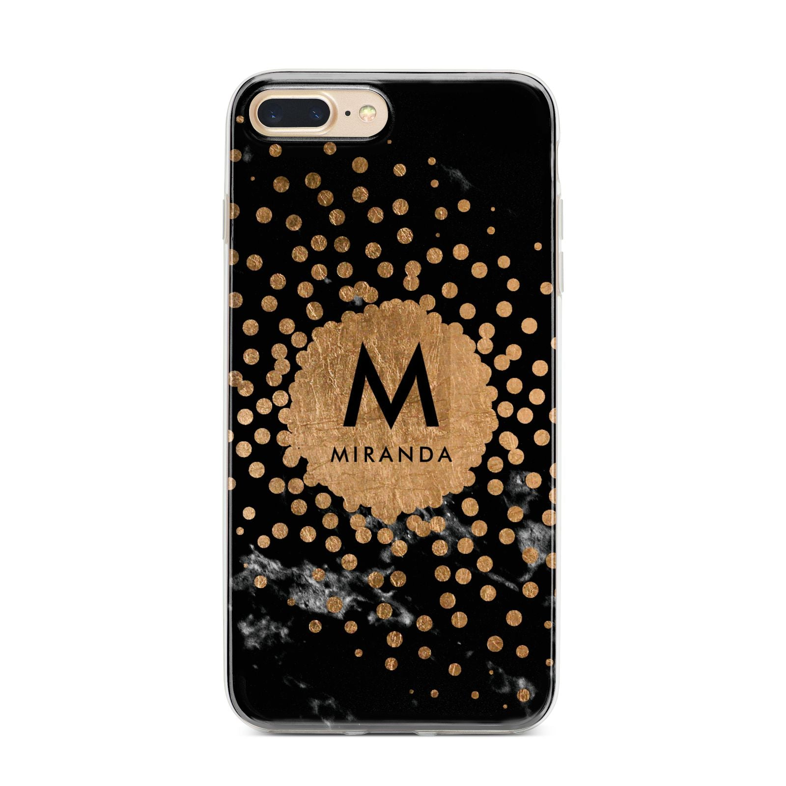 Personalised Copper Black Marble With Name iPhone 7 Plus Bumper Case on Gold iPhone