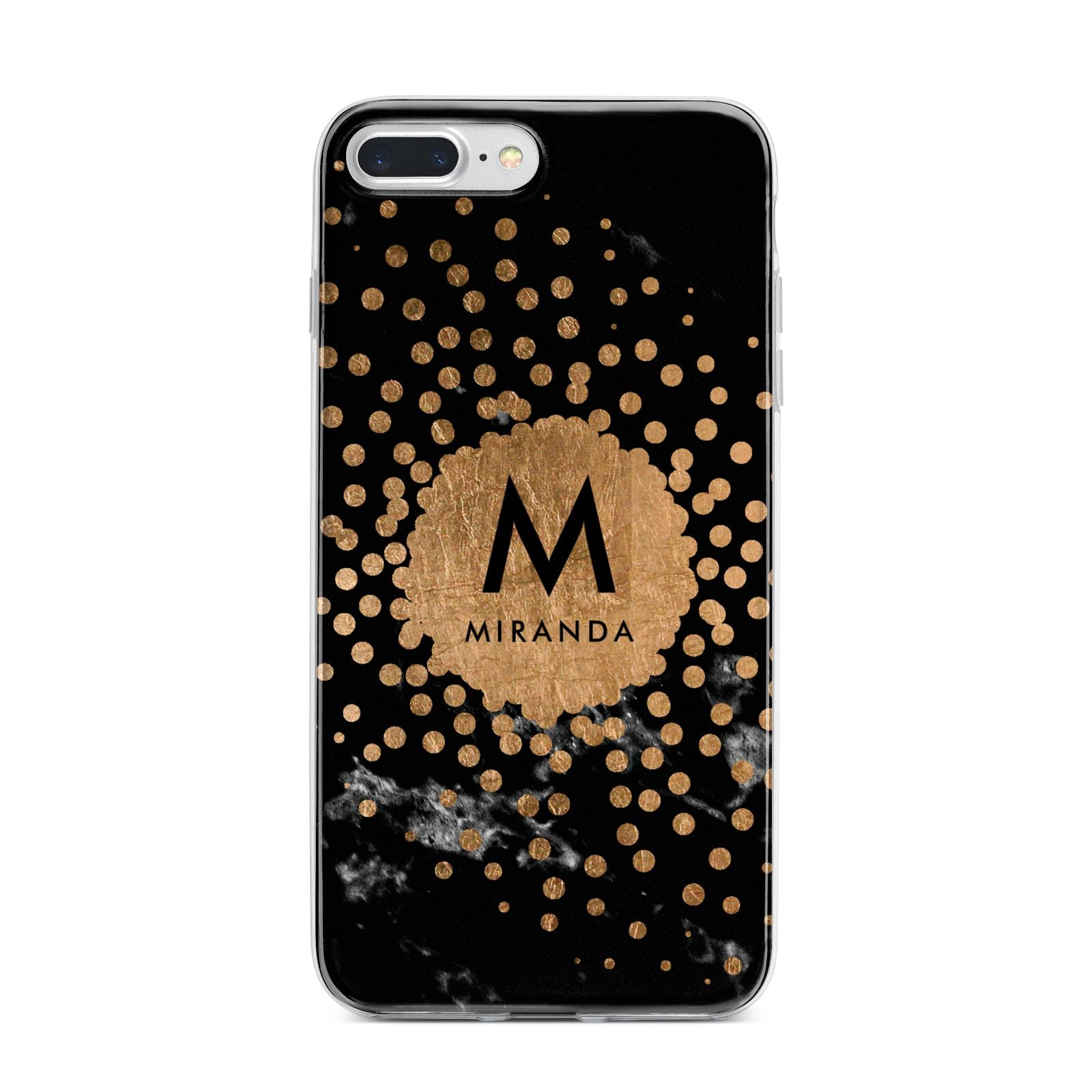 Personalised Copper Black Marble With Name iPhone 7 Plus Bumper Case on Silver iPhone