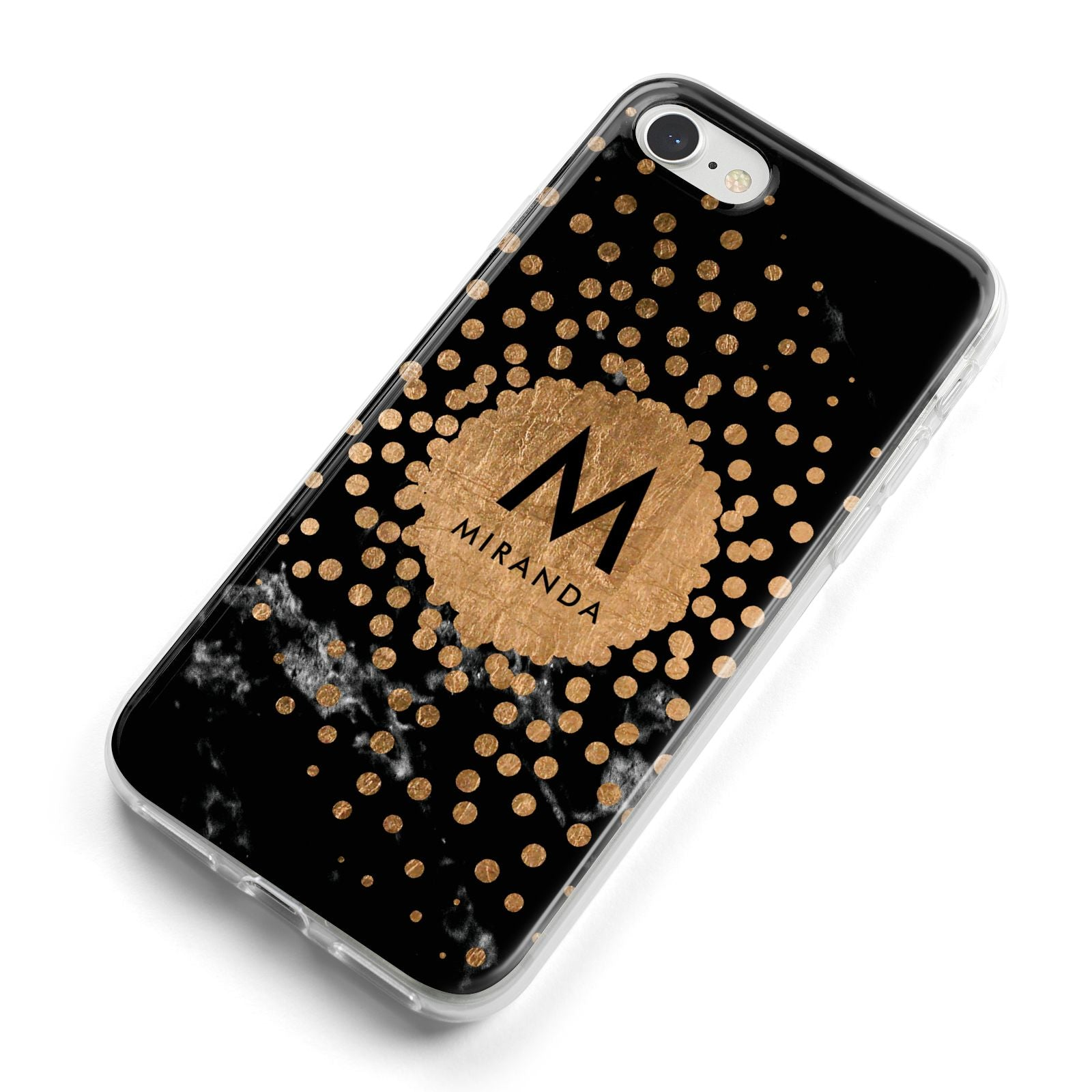 Personalised Copper Black Marble With Name iPhone 8 Bumper Case on Silver iPhone Alternative Image