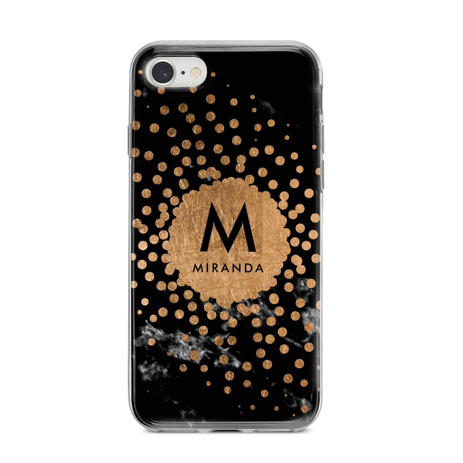 Personalised Copper Black Marble With Name iPhone 8 Bumper Case on Silver iPhone