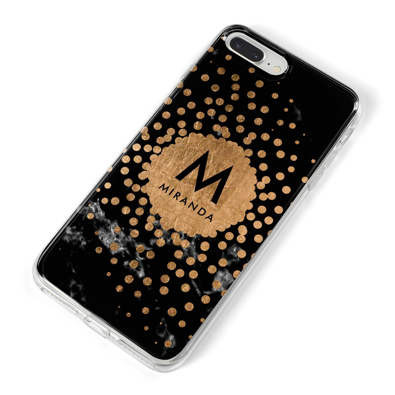 Personalised Copper Black Marble With Name iPhone 8 Plus Bumper Case on Silver iPhone Alternative Image