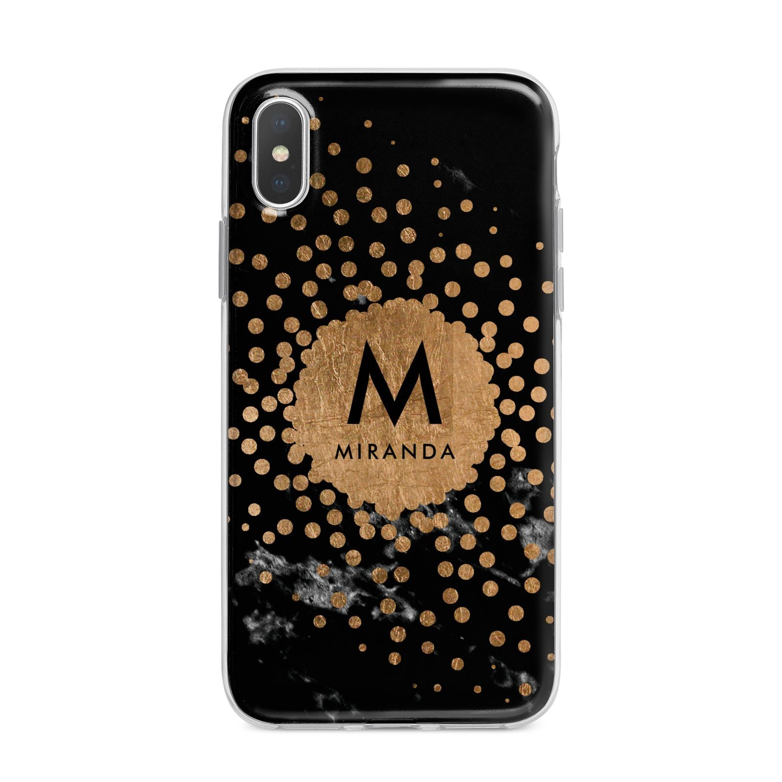 Personalised Copper Black Marble With Name iPhone X Bumper Case on Silver iPhone Alternative Image 1