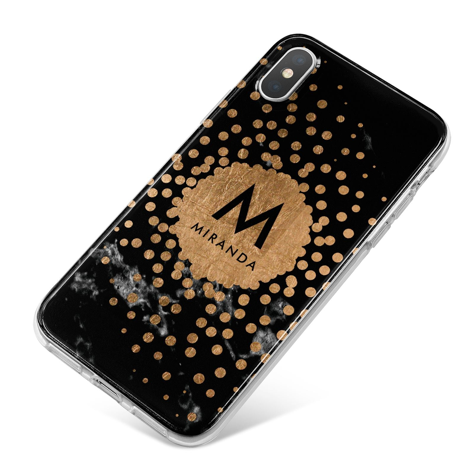 Personalised Copper Black Marble With Name iPhone X Bumper Case on Silver iPhone