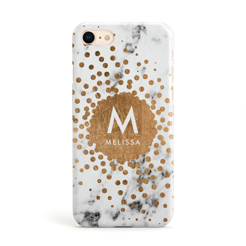 Personalised Copper Confetti Marble & Name Apple iPhone Case