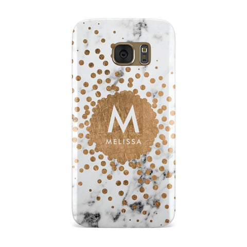 Personalised Copper Confetti Marble & Name Samsung Galaxy Case