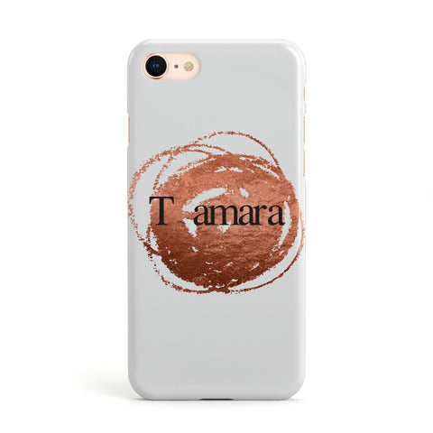 Personalised Copper Effect Custom Initials Apple iPhone Case