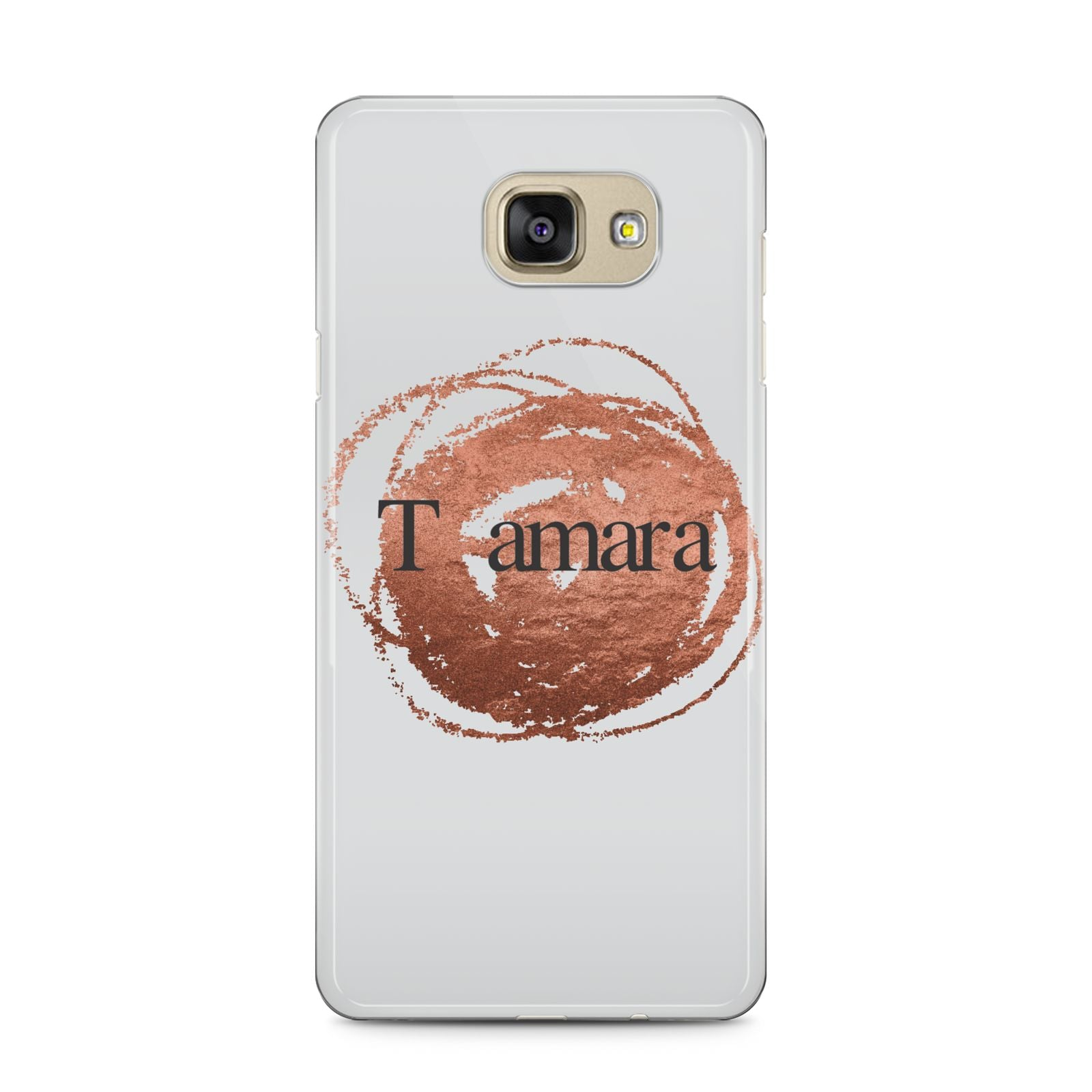 Personalised Copper Effect Custom Initials Samsung Galaxy A5 2016 Case on gold phone
