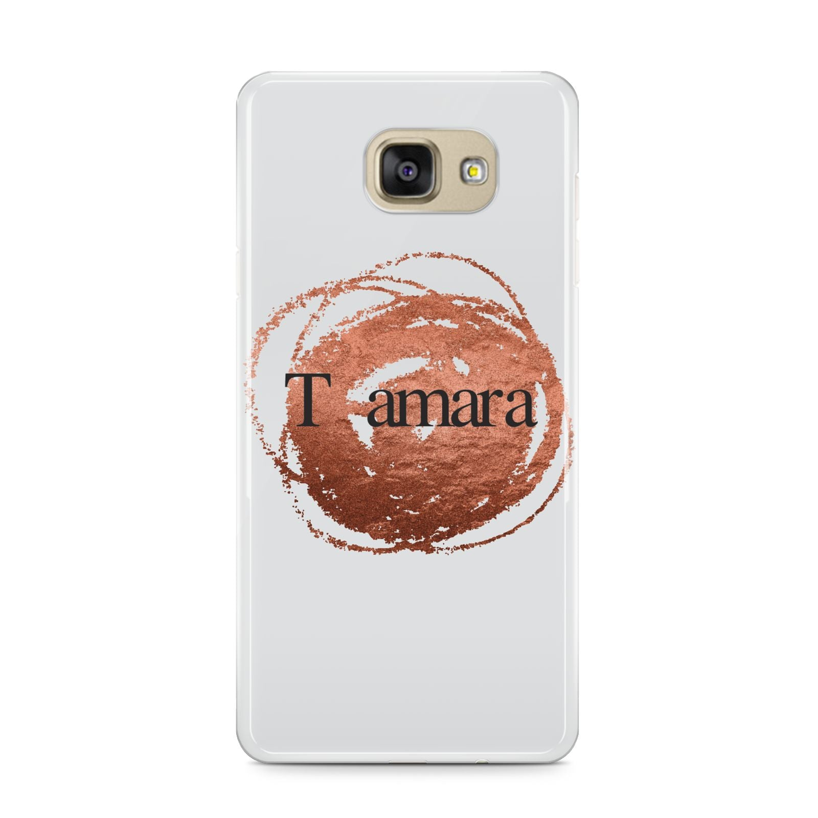 Personalised Copper Effect Custom Initials Samsung Galaxy A9 2016 Case on gold phone