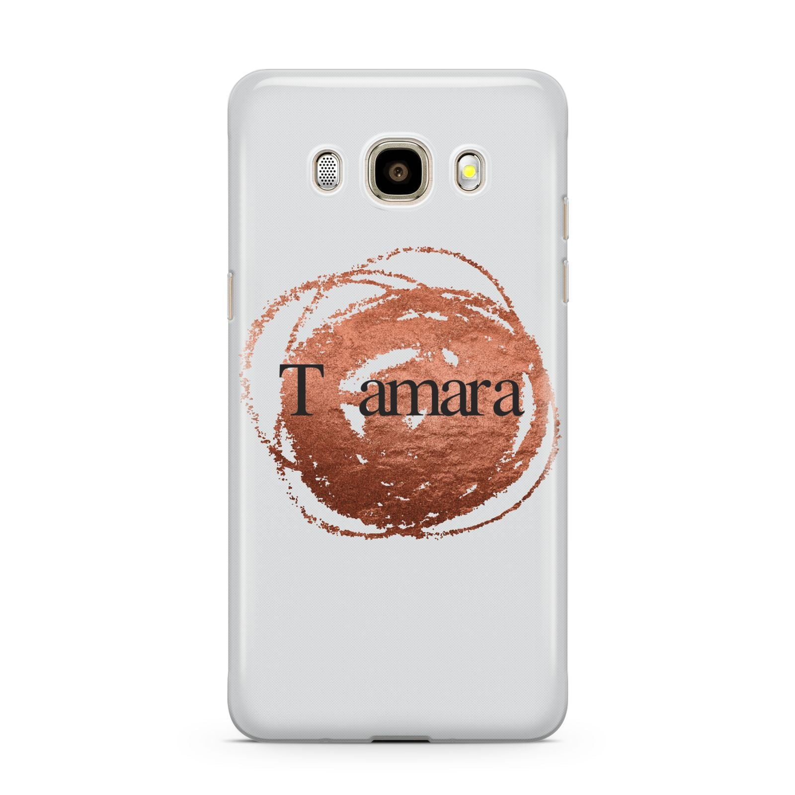 Personalised Copper Effect Custom Initials Samsung Galaxy J7 2016 Case on gold phone