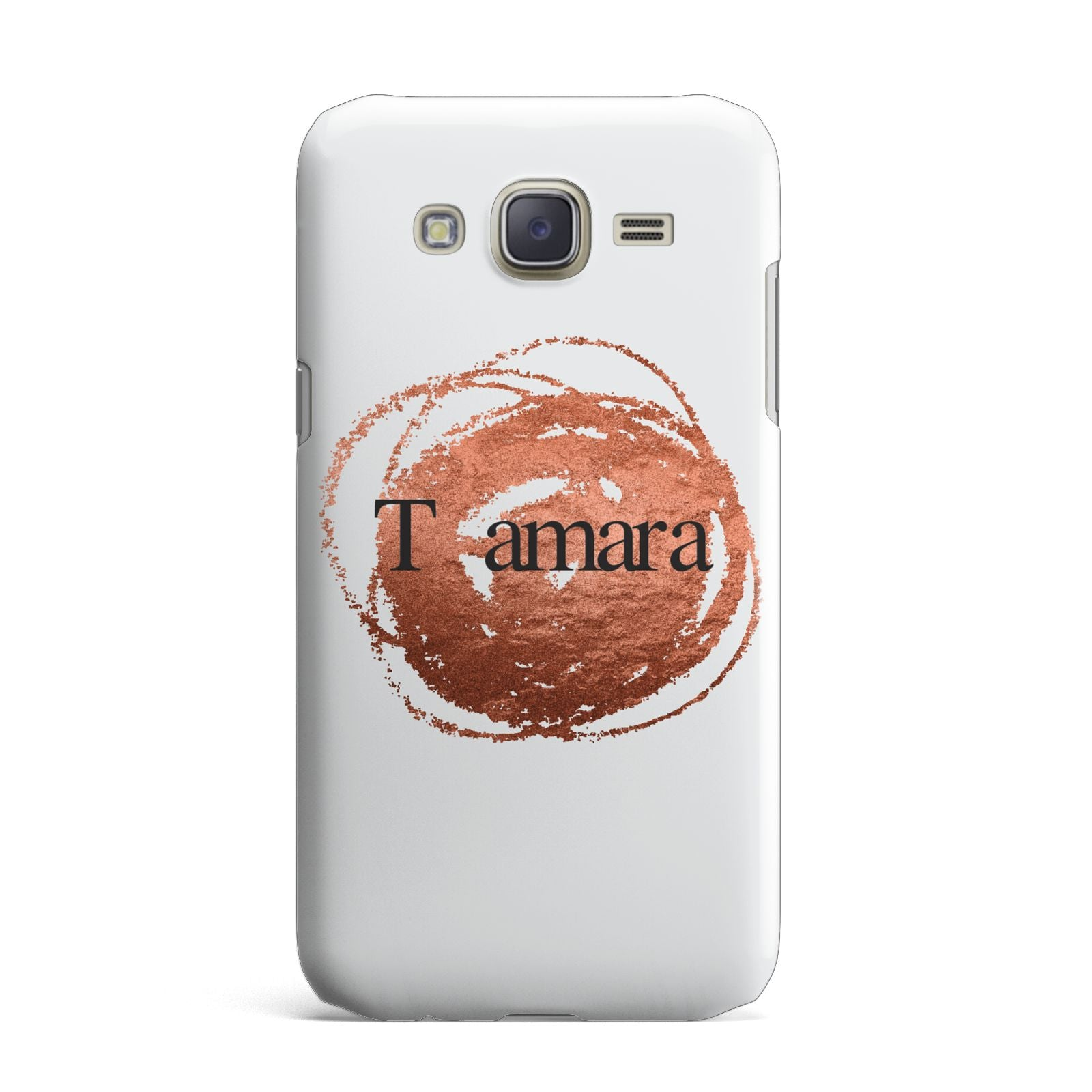 Personalised Copper Effect Custom Initials Samsung Galaxy J7 Case