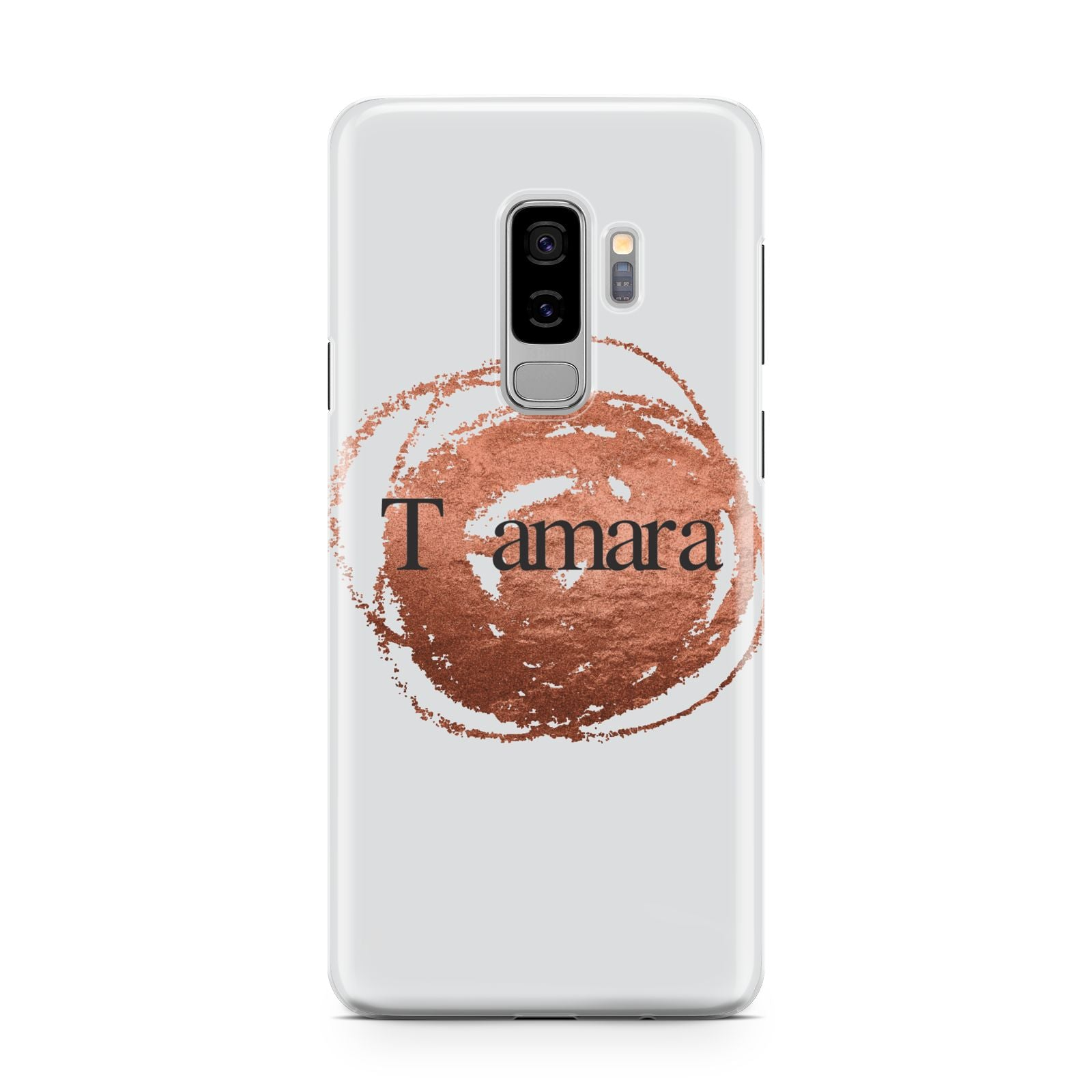 Personalised Copper Effect Custom Initials Samsung Galaxy S9 Plus Case on Silver phone