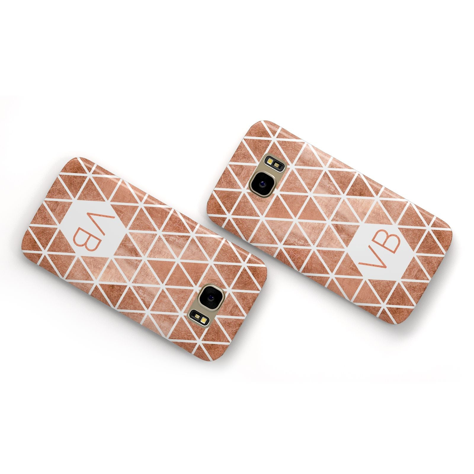 Personalised Copper Initials Samsung Galaxy Case Flat Overview