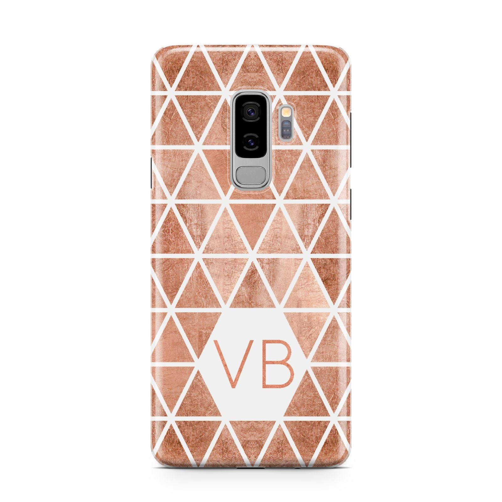 Personalised Copper Initials Samsung Galaxy S9 Plus Case on Silver phone