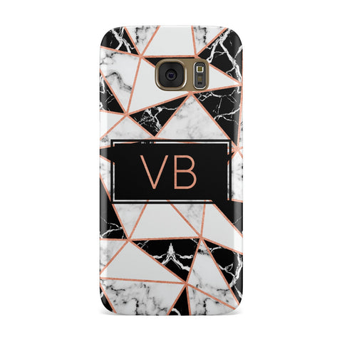 Personalised Copper Marble Initials Samsung Galaxy Case