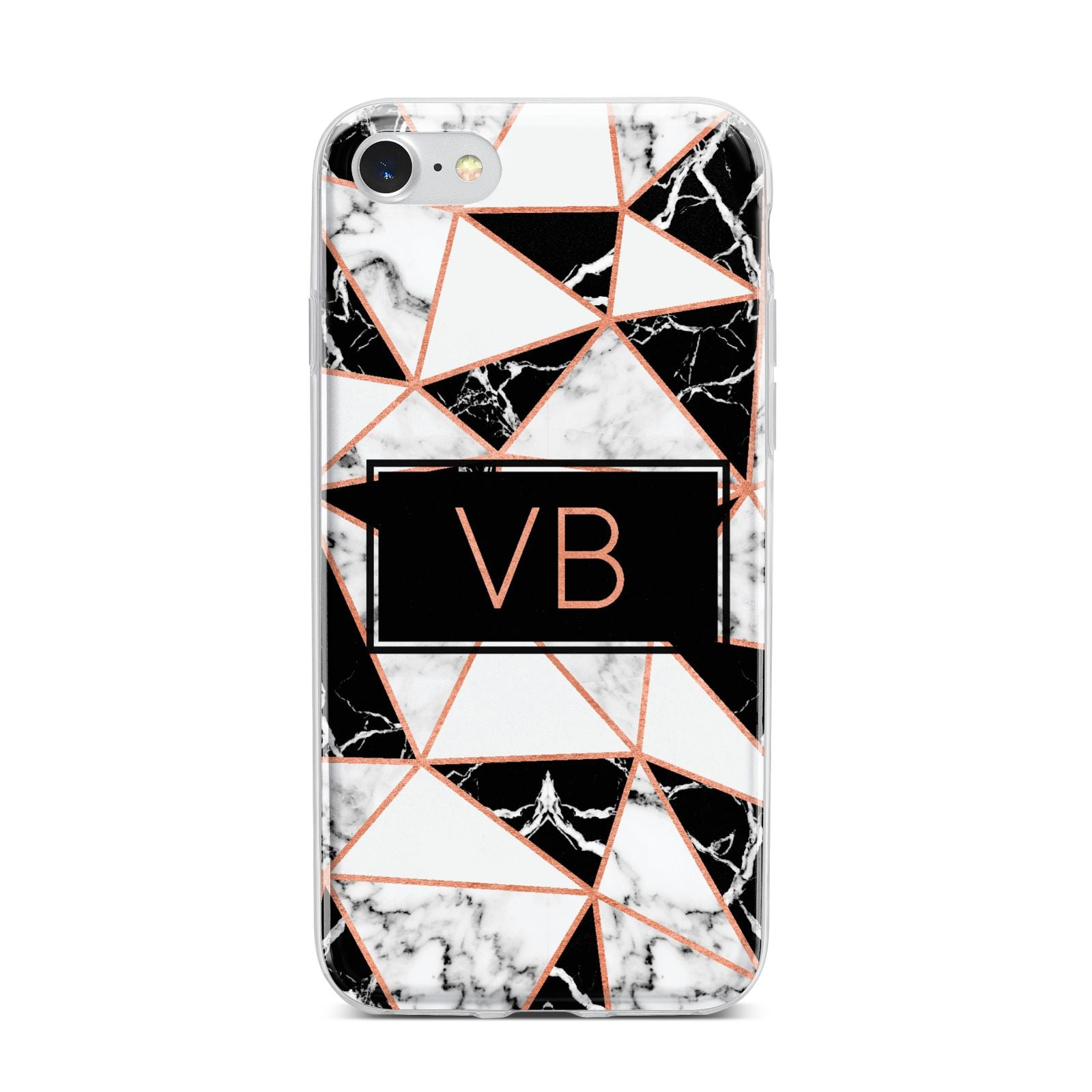 Personalised Copper Marble Initials iPhone 7 Bumper Case on Silver iPhone