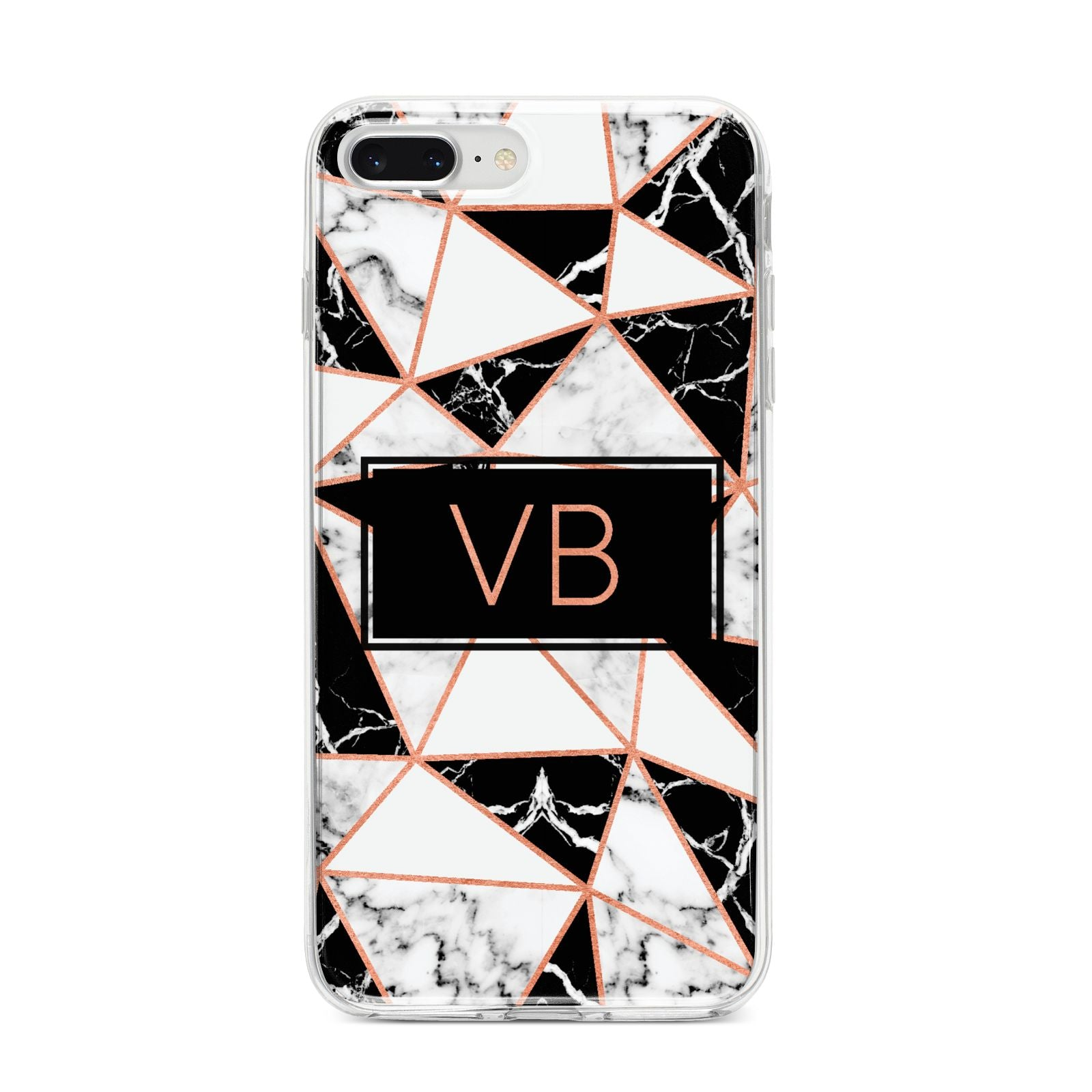 Personalised Copper Marble Initials iPhone 8 Plus Bumper Case on Silver iPhone