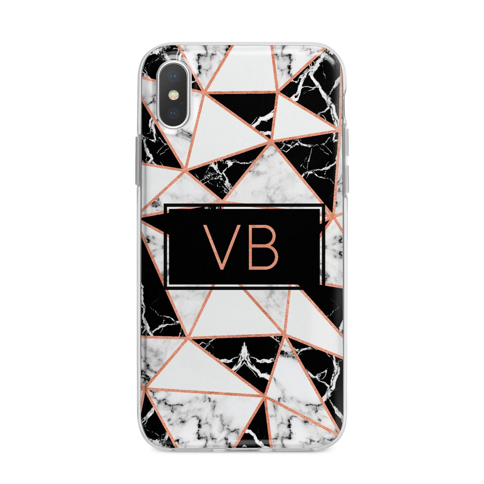 Personalised Copper Marble Initials iPhone X Bumper Case on Silver iPhone Alternative Image 1