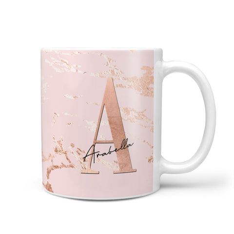 Personalised Copper Pink Marble Mug