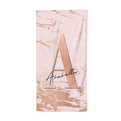 Personalised Copper Pink Marble Beach Towel
