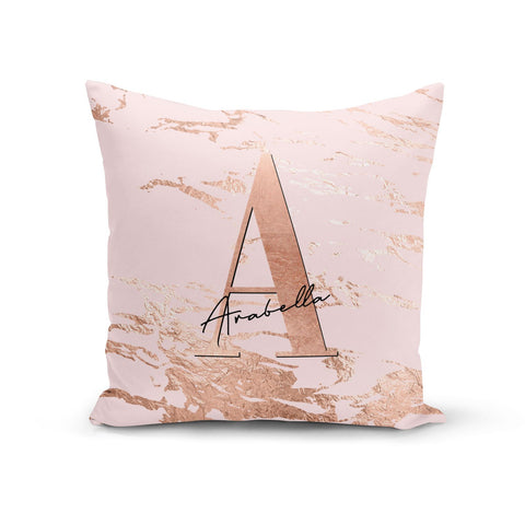 Personalised Copper Pink Marble Cushion