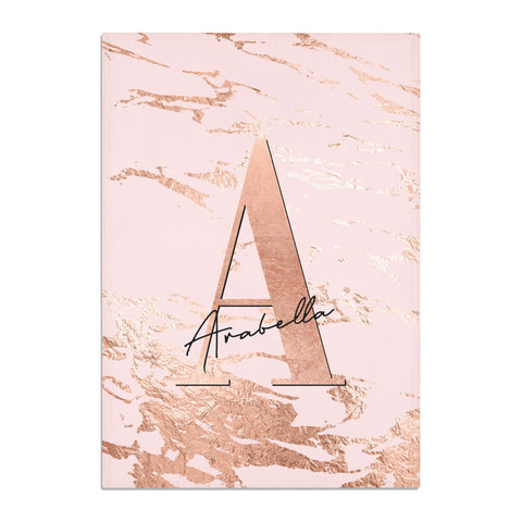 Personalised Copper Pink Marble Tea Towel