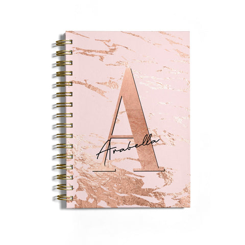 Personalised Copper Pink Marble Notebook