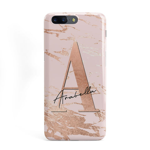 Personalised Copper Pink Marble OnePlus Case