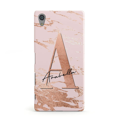 Personalised Copper Pink Marble Sony Case